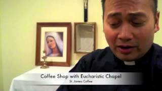 Fr. Leo at the Grand Opening of a Catholic coffee house!