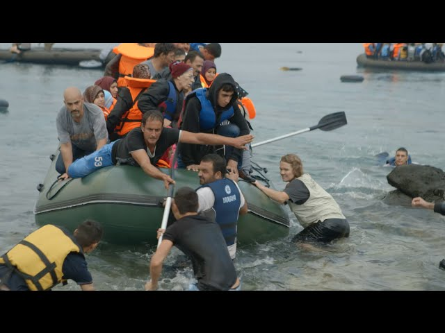 Refugee Boat Landing in Greece